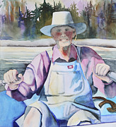 Looking At Camera Paintings - Fisherman by Kerrie  Hubbard