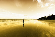 Surf Silhouette Prints - Fisherman On Mayaro Beach Print by Dexter Browne