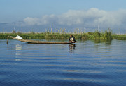 Birma Prints - Fisherman on The Inle Lake Print by Maria Heyens