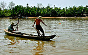 Southernmost Digital Art Prints - Fisherman Pulling in Net in Mekong River-Vietnam Print by Ruth Hager