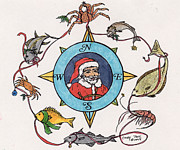 Santa Claus Paintings - Fisherman Santa Compass Rose Fish Cathy Peek Art by Cathy Peek