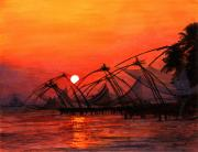 Bright Colors Paintings - Fisherman Sunset in Kerala-India by Vidyut Singhal
