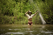 Throw Posters - Fisherman throwing the net at Inle Lake Poster by Ruben Vicente