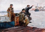 Oil Print Reproductions Mixed Media Prints - Fisherman   Vladivostok Vintage Prints Print by Jake Hartz