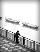 Boost Framed Prints - Fisherman Waiting Framed Print by Valentino Visentini
