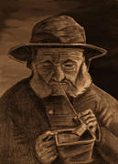 Coal Mixed Media Prints - Fisherman with Souwester Pipe and Coal Pan Print by Phil Clark