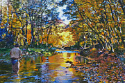Autumn Trees Painting Prints - Fishermans Dream Print by Kenneth Young