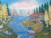 Fishing Shack Paintings - Fishermans Heaven by Seth Wade
