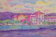 Italian Landscapes Paintings - Fishermans Island in Pink by Rhonda Leonard