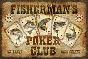 Flyfishing Prints - Fishermans Poker Club Print by JQ Licensing