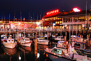 Diner Photos Framed Prints - Fishermans Wharf at Dusk Framed Print by James Kirkikis