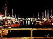 Sour Metal Prints - Fishermans Wharf at Night San Francisco California Metal Print by Jani Bryson