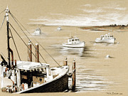 Chatham Drawings - Fishermans Wharf Chatham Mass. by Todd Bachta
