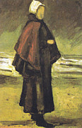 Fishermans Wife On The Beach Print by Vincent Van Gogh