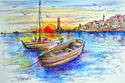Fishermen Drawings - Fishermen boats at sunset by Roberto Gagliardi
