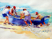 Puerto Rico Paintings - Fishermen Friendship by Estela Robles
