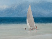 Sailboat Ocean Paintings - Fishermen Kilifi by Lincoln Seligman