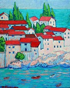Picturesque Painting Prints - Fishermen Old Village Print by Ana Maria Edulescu