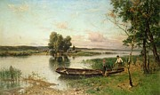 Green Boat Prints - Fishermen unloading their catch in a river landscape Print by Hjalmar Munsterhjelm