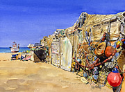 Margaret Merry Framed Prints - Fishermens huts at San Miguel Framed Print by Margaret Merry