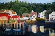 Maine Seacoast Paintings - Fishermens Wharf by Luci Lesmerises