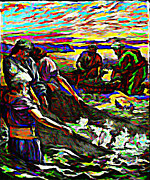 Donkey Digital Art Metal Prints - Fishers of Men Metal Print by Keith Clark