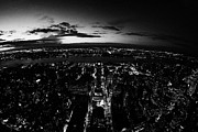 Manhaten Prints - Fisheye Night View Of Manhattan West Towards Hudson River And One Penn Plaza New York City Print by Joe Fox