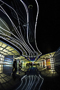 Sven Brogren Art - Fisheye of the neon pedway at Ohare airport by Sven Brogren