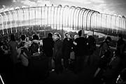 Manhaten Prints - Fisheye Shot Of Sightseers Look At The View From Observation Deck 86th Floor Empire State Building Print by Joe Fox