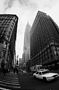Manhaten Framed Prints - Fisheye Shot Of Yellow Cab And Empire State Building At Intersection Of 34th Street Broadway 6th Framed Print by Joe Fox