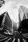 Manhatan Prints - Fisheye Shot Of Yellow Cab On Intersection Of Broadway And 35th Street At Herald Square New York Print by Joe Fox