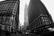 Manhaten Framed Prints - fisheye shot View of the empire state building from West 34th Street and Broadway junction Framed Print by Joe Fox