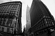 Manhaten Framed Prints - fisheye shot View of the empire state building from West 34th Street and Broadway new york city Framed Print by Joe Fox