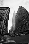 Manhaten Framed Prints - fisheye shot View of the empire state building from West 34th Street and Broadway new york usa Framed Print by Joe Fox