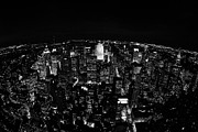 Manhatan Prints - Fisheye View North At Night Towards Central Park New York City  Print by Joe Fox