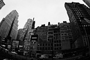 Manhatten Framed Prints - Fisheye View Of 34th Street From 1 Penn Plaza New York City Usa Framed Print by Joe Fox