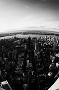 Manhaten Prints - Fisheye View Of Manhattan West Towards Hudson River New York City Print by Joe Fox