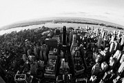Manhaten Prints - Fisheye View Of Manhattan West Towards Hudson River New York City Usa Print by Joe Fox