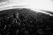 Manhatan Posters - Fisheye View Of Sunset Over Lower Manhattan And Hudson River New York City Poster by Joe Fox