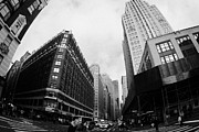 Manhaten Framed Prints - Fisheye View Of The Herald Square Building And Cross Walks Over Broadway New York Framed Print by Joe Fox