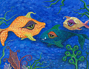 Bubbles In Water Posters - Fishin for Smiles Poster by Tanielle Childers