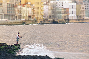 Malecon Prints - Fishing along the Malecon.. Print by A Rey