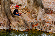 Tree Roots Digital Art Prints - Fishing Among the Cypress Print by Paul Wolf