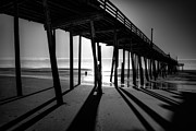 Frisco Pier Photos - Fishing at Frisco Outer Banks BW by Dan Carmichael
