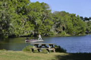 Fisherman Metal Prints - Fishing at Ponce De Leon Springs FL Metal Print by Christine Till