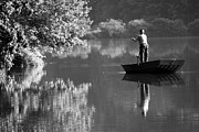 Isolated On Black Background Digital Art - Fishing at the lake by Crystal Wightman