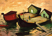 Warm Paintings - Fishing barges on the River Sugovica by Emil Parrag
