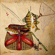 Fishing Flies Paintings - Fishing Basket  by Jean Plout