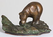 Kodiak Sculptures - Fishing Bear by Kevin B Willson