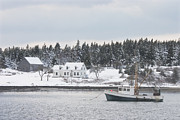 Fishing Boat After Snowstorm In Port Clyde Harbor Maine Print by Keith Webber Jr